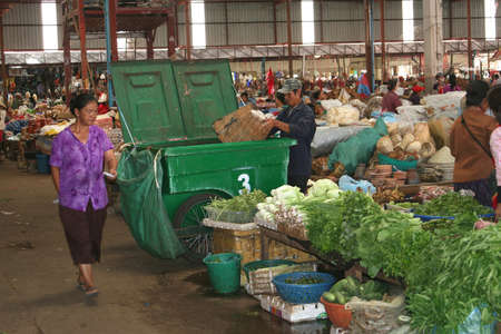 vientiane: Morning market with vegetables in Vientiane Laos