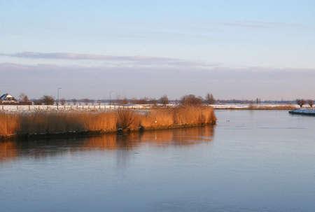 frozen river: A frozen river in a Dutch polder