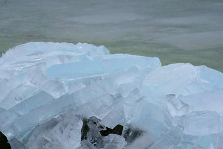 Drifting ice along the IJsselmeer in Holland Stock Photo - 17564343