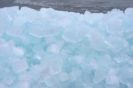 drifting ice: Drifting ice along the IJsselmeer in Holland Stock Photo