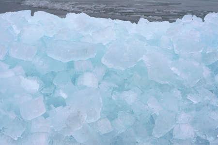 lemmer: Drifting ice along the IJsselmeer in Holland Stock Photo