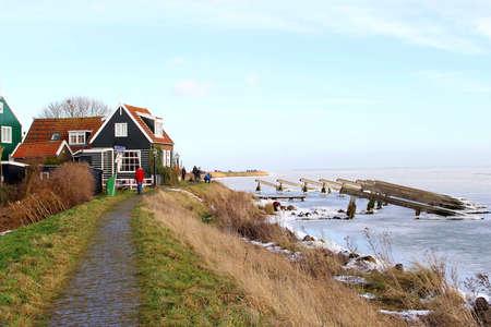 Village Marken near a frozen IJsselmeer  Stock Photo - 17554868