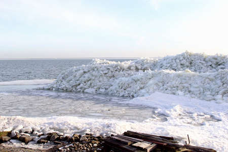 Landscape of drifting ice in the IJsselmeer in Holland Stock Photo - 17687968