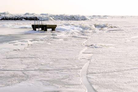 ijsselmeer: Frozen IJsselmeer near Amsterdam Stock Photo