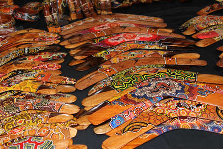 Hand painted boomerangs for sale at the market in Australia photo