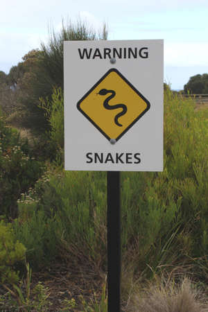 Road sign warning for snakes in Australia photo