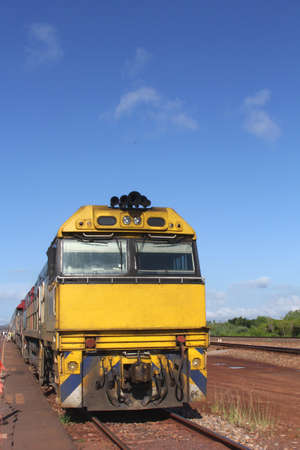Train at a railway station in the outback of Australia photo