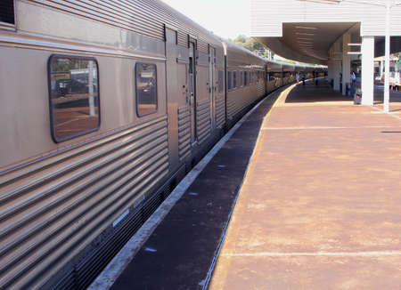Railway station in Perth Australia with the Indian Pacific train