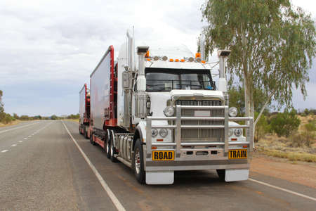 Road train in the Outback of Australia photo