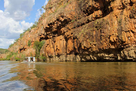 Reflections and a boat in the Katherine Gorge in Australia