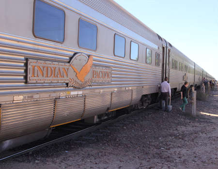 broken hill: The Indian Pacific train at a railway station at the Nullarbor Plain