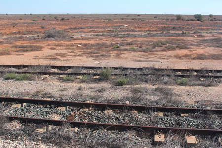 plains indian: Rails in the outback of Australia Stock Photo