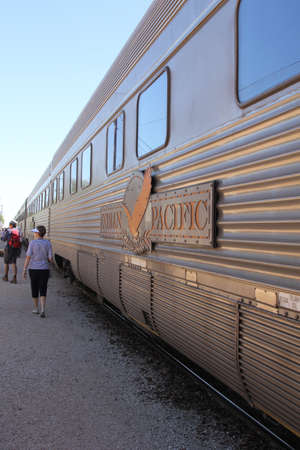 The Indian Pacific train at a railway station at the Nullarbor Plain