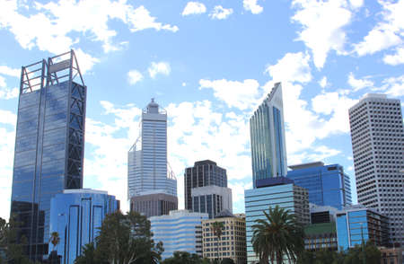 Skyline of Perth from the riverside of the Swan river