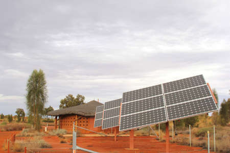 Solar panels in the red desert