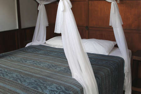 poster bed: Four-poster bed in an African lodge Stock Photo