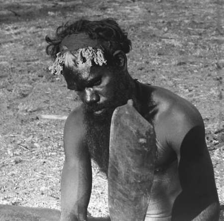 Vintage photo of an Aboriginal man in black and white in the South Australian Museum in Adelaide Australia on 30 march 2013