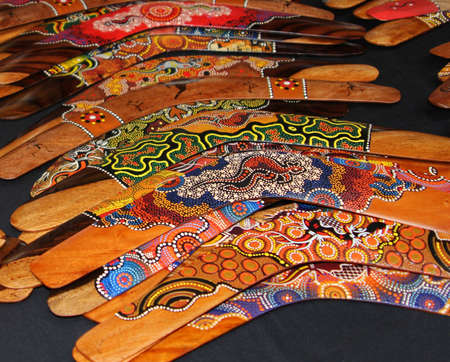 Background colorful boomerangs in Australia photo