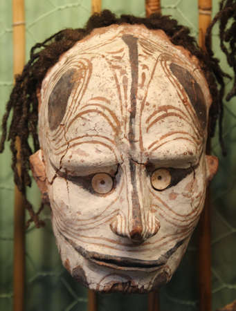 Adelaide, Australia, may 25, 2013 Primitive mask from Papua New Guinea  in the South Australian Museum in Adelaide