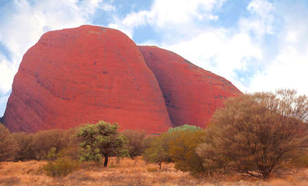 olgas: Landscape with Kata Tjuta the Olgas in the red centre of Australia Editorial