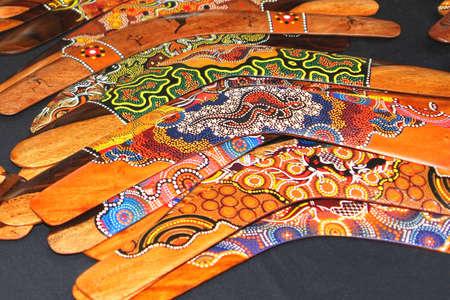 Colorful Aboriginal boomerangs in Australia  Stock Photo