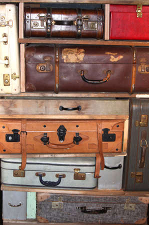 Netherlands, june 28, 2013 Collage of vintage leather suitcases