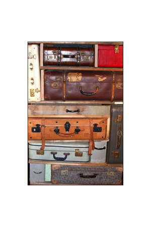 Collage of vintage leather suitcases isolated on white photo