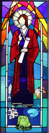 April 17, 2013 Stained glass window with Saint Luke