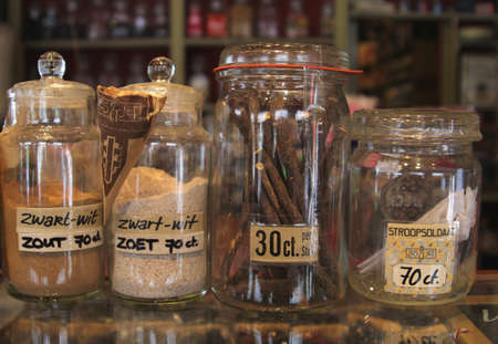 relishing: Netherlands july 1, 2013 Vintage stock jars with sweets and candy