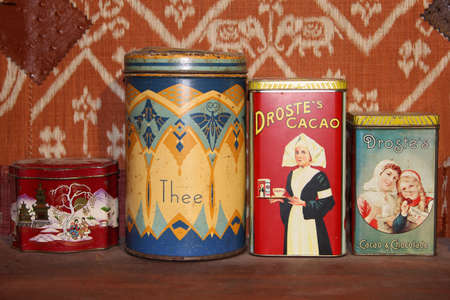 Netherlands, june 28, 2013 Vintage metal tins with tea, cacao and chocolate