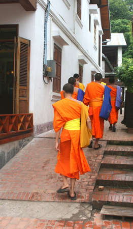 illiteracy: Luang Prabang, Lao Peoples Democratic Republic,  october 25, 2012 Buddhist monks are going to school in Laos