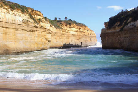 Panorama at the sea and the rocks along the Great Ocean Road in Voctoria, Australia photo