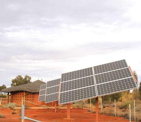 Solar cells in the red desert Stock Photo