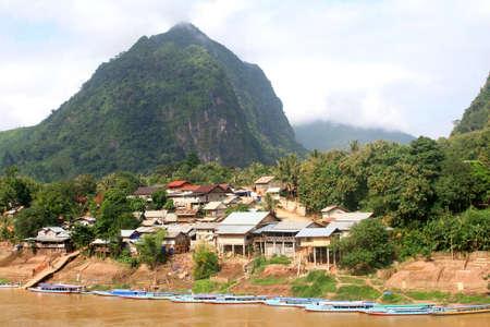 ou: Village Nong Khiaw along the Nam Ou river in Laos  Stock Photo