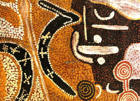 Adelaide, Australia, april 1, 2013 A part of a vintage Aboriginal painting in the South Australian Museum Editorial