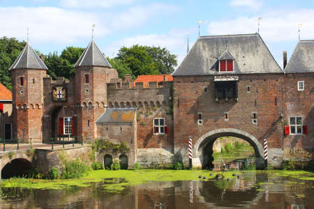eem: Medieval town wall along the Eem river in Amersfoort   The city of Amersfoort is a tourist destination about 40 kilimeters from Amsterdam in the Netherlands Editorial