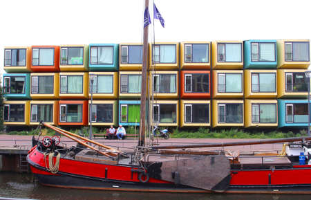 eem: Amersfoort, Netherlands, july 20, 2013 Colorful student accommodation along the Eem river