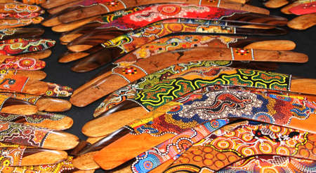 Colorful hand painted boomerangs for sale in Australia Stock Photo - 21155970