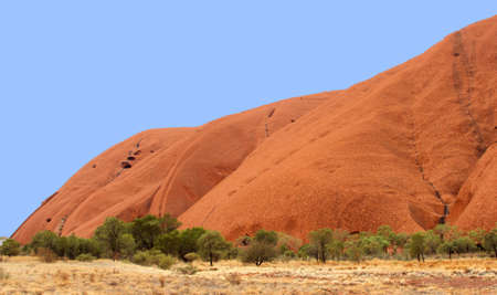 Landscape with a part of the Uluru and green trees in the Australian desert photo
