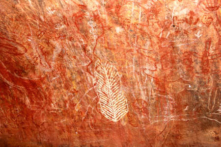 Uluru Kata Tjuta National Park, Northern Territory, Australia march 25, 2013 Prehistoric Aboriginal rock art at Ayers Rock
