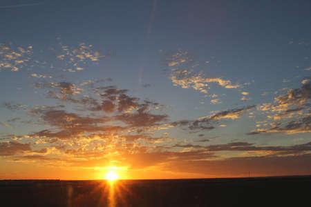 plains indian: Sunset above the Nullarbor Plain in Western Australia Stock Photo