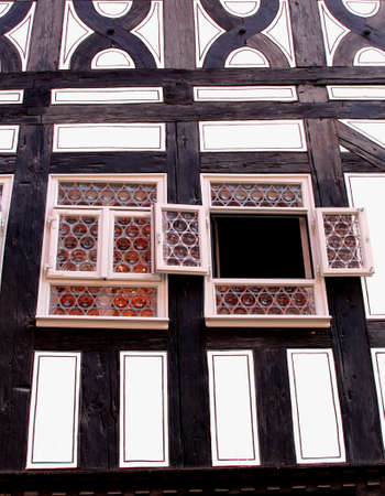 fachwerk: Facade of a fachwerk house in close up in Thuringia in eastern Germany Editorial