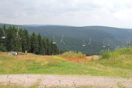 wintersport: A chair-lift in the wintersport area of Oberhof in Thuringia in Germany