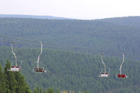 A chair-lift in the wintersport area of Oberhof in Thuringia in Germany photo