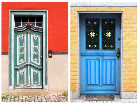 A collage of two vintage wooden doors with creative decorations and ornaments photo