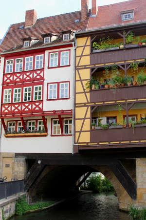 fachwerk: Erfurt, Thuringen, Germany, august 7, 2013 Colorful fachwerk houses at the Merchants Bridge Kraemerbruecke in the historical city centre of Erfurt in Thuringia Germany