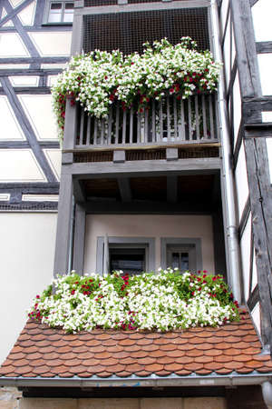fachwerk: Erfurt, Thuringian Forest, Germany, august 7, 2013 Balconies with blooming flowers at a fachwerk house on  the Merchants Bridge Kraemerbrucke in the historical city centre of Erfurt in Thuringia  Editorial