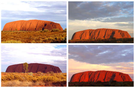 Ayers Rock, Northern Territory, Australia, march 25, 2013 Collage sunset colors at Uluru Ayers Rock in the Uluru Kata Tjuta National Park