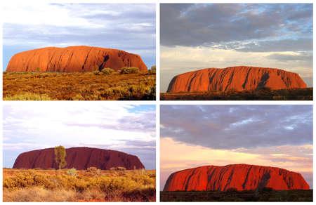 tjuta: Ayers Rock, Northern Territory, Australia, march 25, 2013 Collage sunset colors at Uluru Ayers Rock in the Uluru Kata Tjuta National Park
