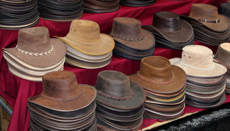 Original leather hand made Australian hats for sale Stock Photo